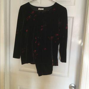 Ladies black velvet top and pants set